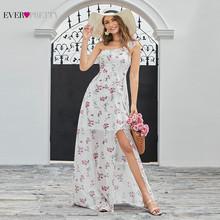 Элегантные вечерние платья Ever Pretty, длинные шифоновые вечерние платья-трапеция с открытыми плечами и цветочным принтом, 2020(Китай)