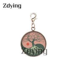 Zdying мода нержавеющая сталь основа Жизни дерева стекло кабошон кулон кабошон с фото подвески для ключей сумка аксессуары LF016(Китай)