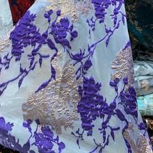 Красивая африканская кружевная ткань для платья с аппликацией, Золотая леска, французский сетчатый тюль, Высококачественная нигерийская к...(Китай)