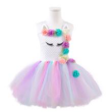 Платье для девочек с единорогом, вечерние платья-пачки принцессы с цветами, костюм на день рождения, Хэллоуин, 2020(China)