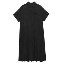 Женское платье-рубашка EAM, желтое Плиссированное Платье-рубашка большого размера с полурукавами и отворотом, весенне-летняя мода 2020 1U066(Китай)