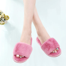 Женские плюшевые тапочки SWQZVT, осенне-зимние домашние меховые дамские тапочки на плоской подошве, пушистые шлепанцы для сна, женская обувь(Китай)