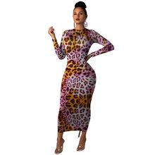 Повседневное облегающее длинное платье с леопардовым принтом, длинным рукавом и круглым вырезом, женское осеннее Сексуальное вечернее Клу...(Китай)
