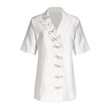 Женский блейзер TWOTWINSTYLE, элегантный асимметричный блейзер с вырезами на шее, с рукавом до локтя, туника в стиле пэчворк, с бантом, модный цвет(Китай)