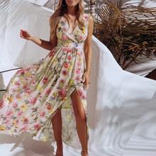 Женское платье с v-образным вырезом и цветочным принтом, длинные летние вечерние шифоновые платья макси на тонких бретелях, Элегантные повс...(Китай)