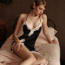 Шелковистая Сексуальная женская летняя ночная рубашка с кружевным ремешком и открытой спиной, соблазнительная ночная рубашка с глубоким v-...(Китай)