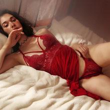 Женское сексуальное кружевное нижнее белье, ночная рубашка с глубоким v-образным вырезом, ночная рубашка, ночная рубашка, Женская Летняя Отк...(Китай)