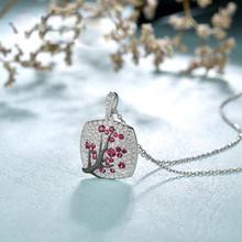 Женское Ожерелье с листьями из красного циркония, изящное ожерелье с розовой веткой вишни и фианитами, модные украшения(Китай)