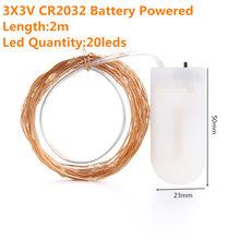 2 м 5м10м светодиодная гирлянда Cooper Wire 3AA батарея Рождественская гирлянда для праздничной Феи украшение для свадебной вечеринки(Китай)