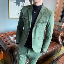 Весенние Замшевые мужские костюмы, 2 шт., облегающие деловые Костюмные костюмы, Блейзер, брюки, зеленый, верблюжья, свадебные костюмы для муж...(Китай)