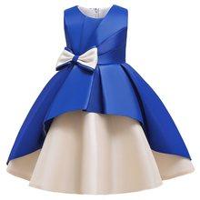 Платья для девочек в стиле ретро; Торжественное свадебное платье; Платье принцессы с большим бантом; Детская одежда с цветочным узором для д...(China)