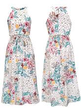 Формальное платье-кулон платье на молнии с принтом, длинное платье длиной до щиколотки для девочек на весну и лето 2020(Китай)