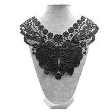 Высококачественная Вышитая брошь из полиэстера, шелка, бабочки, кружевной ткани, сетчатый воротник, аппликация на воротнике, Швейные аксесс...(Китай)