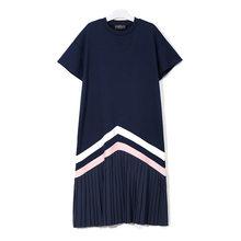[EAM] женский, черный в полоску длинное платье со складками и разрезом для девочек, комплект из платья с круглым вырезом короткий рукав свобод...(Китай)