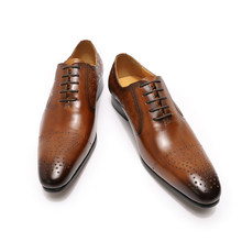 Модные Мужские модельные туфли; Кожаные оксфорды; Роскошная итальянская обувь; Цвет черный, коричневый; Свадебная деловая мужская обувь на ...(Китай)