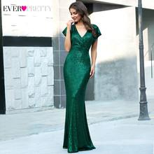 Золотое длинное вечернее платье Ever Pretty с открытой спиной и воротником хомутом EP07110GD, блестка Блеск, элегантное женское вечернее платье 2020(Китай)
