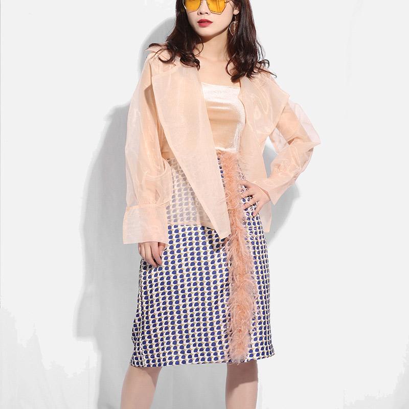 Прозрачная женская рубашка из органзы, с отложным воротником, с длинным рукавом, женские рубашки 2020, летний Повседневный свободный женский ...(Китай)