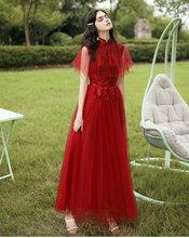 Винно-красное платье подружки невесты, несоответствие и смешанный тюль, платье подружки невесты, длинное платье для выпускного вечера с кор...(Китай)