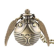 Роскошный маленький милый снитч шарообразный кварцевые карманные часы цепь ангел свитер с крыльями кулон ожерелье-сувенир подарок для муж...(Китай)