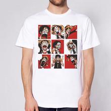 Смешная футболка, цельный аниме футболка Luffy Graphic футболка Зоро Harajuku топы оверсайз мужская одежда Уличная эстетика лето(Китай)