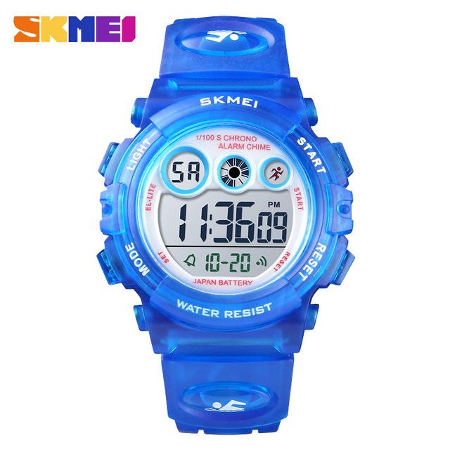 SKMEI детские часы 1451 прозрачный PU ремешок Детские часы светодиодный цифровой мальчик девочка спортивные электронные часы Водонепроницаемый...(Китай)