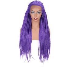 Элегантный Муз Синтетические волосы на кружеве парик синтетические Фиолетовый 66 см длинный ящик коса парик фиолетовый бесклеевой Плетеный...(Китай)
