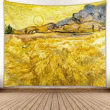 Звездная луна ночь Ван Гог картина печать гостиная украшение настенный гобелен йога коврик Домашний декор искусство 230X180cm(Китай)