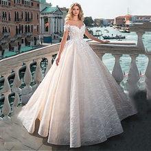 Винтажное бальное платье свадебное платье 2020 с открытыми плечами кружевное платье невесты с отделкой бисером 3D Цветы аппликации Принцесса ...(Китай)