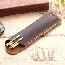 Винтажный футляр для ручек из натуральной кожи, чехол для карандашей, чехол для ручек из воловьей кожи, дорожный школьный журнал, офисные пр...(Китай)