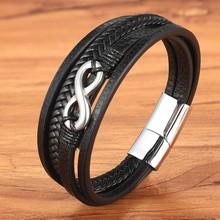 Мужские кожаные аксессуары из нержавеющей стали, Золотой/стальной браслет с геометрическим узором, многослойный браслет для мужчин, подаро...(Китай)
