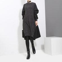 Женское ассиметричное трикотажное платье EAM, платье с круглым вырезом и длинным рукавом, весеннее/осеннее, JD4870(Китай)