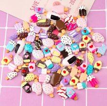 12 шт., подвески из смолы для изготовления ювелирных изделий, цветная мини еда, кавайное мороженое, плоская задняя часть Конфета из смолы, оча...(Китай)