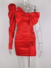 JillPeri женское мини-платье с вырезом лодочкой и одним плечом, сексуальное красное платье с бантом, вечерние платья знаменитостей на день рожд...(Китай)