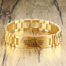 Персонализированный мужской браслет из нержавеющей стали золотого цвета, индивидуальный текстовый подарок моему сыну, мужские аксессуары(Китай)