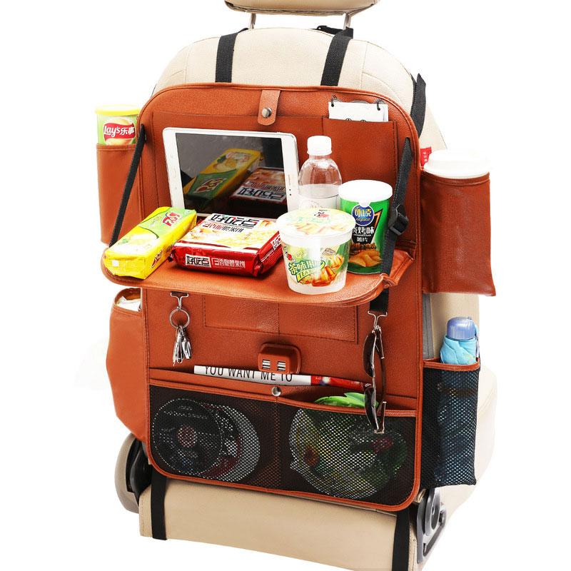 Автомобильный органайзер, сумка для хранения заднего сиденья, Универсальный складной стол, держатель для планшета, лоток для багажника, сет...(Китай)