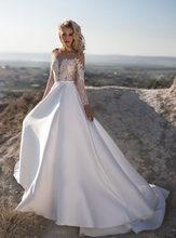Белое свадебное платье трапециевидной формы es 2020, свадебное платье в стиле бохо с длинными рукавами на заказ, большие размеры, Дешевые Круже...(Китай)
