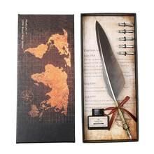 Винтажная каллиграфическая перьевая ручка ALLOYSEED, набор чернил для письма, канцелярские принадлежности, перьевые ручки, креативная винтажна...(Китай)