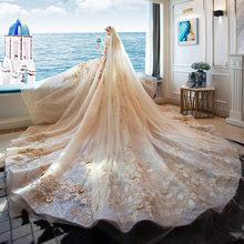 Роскошное свадебное платье со шлейфом звездное небо благородное свадебное платье без бретелек с вышивкой и аппликацией в виде часовни свад...(China)