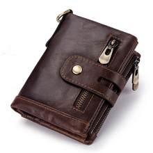 Мужской кошелек из 100% натуральной кожи, кошелек для монет, маленький держатель для карт, портфель с цепочкой, мужской кошелек, модный кошеле...(Китай)