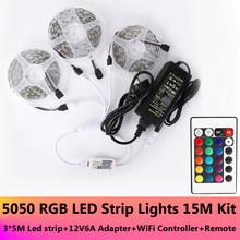 5 м 10 м 15 м RGB Светодиодная лента 5050 2835 DC12V Водонепроницаемая WiFi Гибкая Диодная Лента светодиодная лента световой полосы удаленный адаптер(Китай)