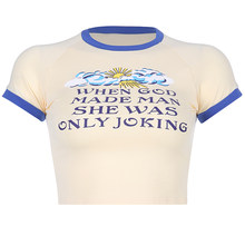 Белая короткая футболка Manica Corta, хлопковая Сексуальная футболка Delle Donne с графическим принтом, Женская Облегающая рубашка Kawaii(China)