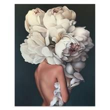 Цветы Перья женщина Абстрактная Картина на холсте настенная печать плакат картина декоративный Рисунок гостиная украшение дома(Китай)