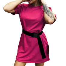 Повседневное однотонное Новое Женское платье, с поясом, одноцветное, для дома, свободные, спортивные, модные платья для отдыха, летние, новые...(Китай)