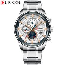 Мужские кварцевые часы CURREN, часы с золотым циферблатом из нержавеющей стали с подсветкой(Китай)
