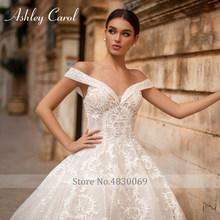 Платье для свадьбы Эшли Карол, а-силуэта, 2020, элегантное, с плеча, с аппликацией из бисера кружевное, Пляжное, свадебное платье, Vestido De Noiva(China)