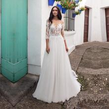 Свадебные платья с кружевной аппликацией из тюля, три четверти, свадебные платья с пуговицами сзади, свадебное платье, vestido de noiva, длина до по...(China)
