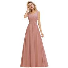 Длинное вечернее платье с кружевом Dusty Rose, ТРАПЕЦИЕВИДНОЕ ПЛАТЬЕ С v-образным вырезом, вечерние выпускные платья, Robe de Soiree Longue(China)
