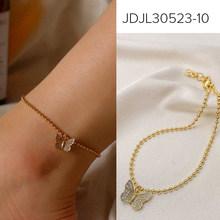 Многослойный браслет на ногу с бабочкой, 3 шт. в комплекте, с надписью «Angel», золотого цвета, с розовой бабочкой(Китай)
