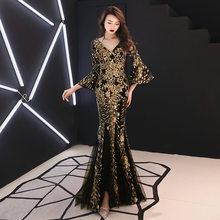 Черное, золотое, китайское, сексуальное, с v-образным вырезом, восточные, вечерние, женские, Cheongsam, для сцены, шоу, Qipao, платье, элегантные, знаме...(Китай)