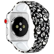 Силиконовый ремешок для Apple Watch band 44 мм 40 мм 42 мм 38 мм с принтом, Женский iwatch браслет, apple Watch series 5 4 3 2 1 band 44 мм(Китай)